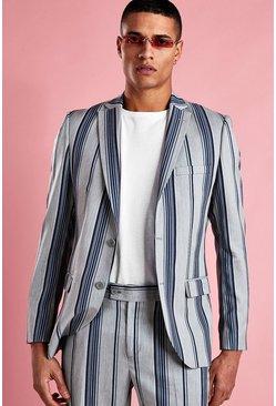 Light grey Skinny Bold Stripe Blazer