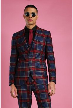 Black Skinny Tartan Check Suit Blazer