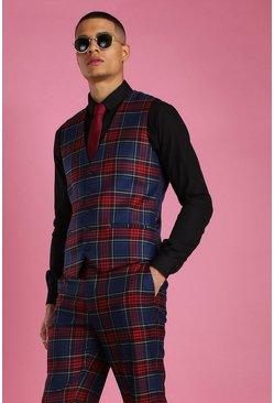 Black Skinny Fit Plaid Check Suit Vest