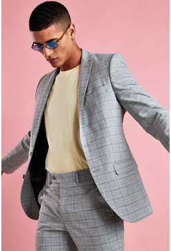 Grey Skinny Mini Grid Check Blazer