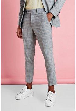 Grey Skinny Mini Grid Check Pants