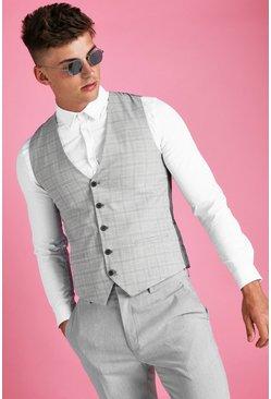 Grey Skinny Mini Grid Check Vest