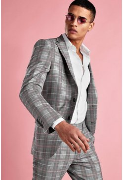 Grey Skinny Prince Of Wales Check Blazer