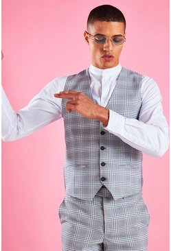 Light blue Super Skinny Plaid Check Vest