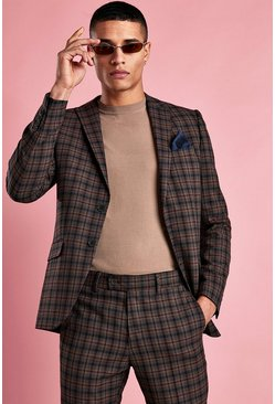 Brown Skinny Mini Check Blazer