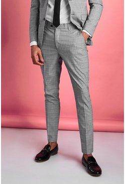 Grey Super Skinny Mini Dogtooth Pants