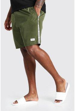 Khaki Big And Tall Mid Length MAN Tape Swim Short