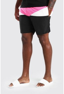 Short de bain mi-long colorblock Grandes Tailles, Rose