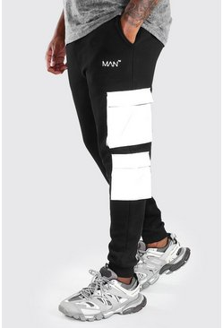 Black Big And Tall Reflective Pocket Cargo Jogger