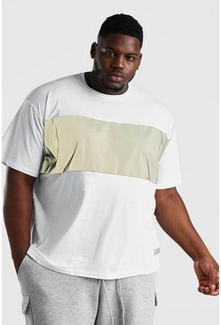White Big And Tall MAN Reflective Front Panel T-Shirt