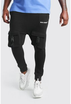 Black Big And Tall Carrot Fit Utility Jersey Jogger