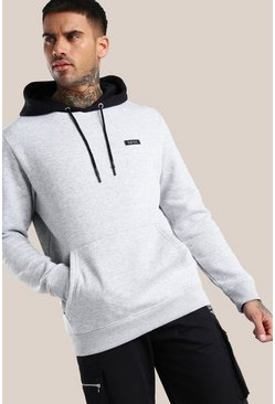 Grey marl Original MAN Contrast Hood Embroidered Hoodie