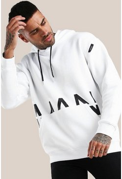 White Original MAN Print Loose Fit Hoodie With Label