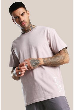 Original MAN Loose Fit T-Shirt mit 3D-Stickerei, Braun