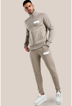 Original MAN Skinny Fit Trainingsanzug mit Stickerei, Taupe