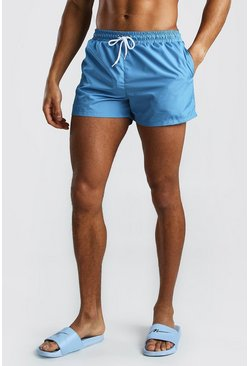 Dusty blue Plain Mid Length Swim Shorts
