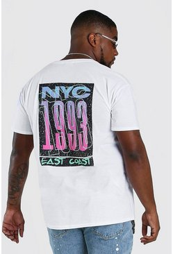 White Big And Tall NYC Back Print T-Shirt