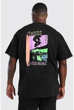 Black Big And Tall Venice Back Print T-Shirt