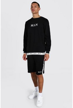 Tall Man Roman Short Tracksuit With Tape, Black