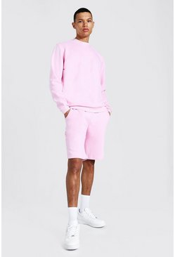 Pastel pink Tall Short Sweater Tracksuit With Man Rib