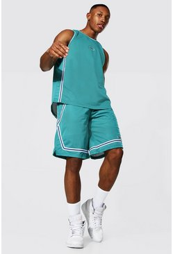 Mesh Basketball Short Set, Teal