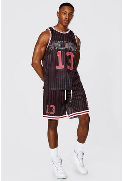 Black Worldwide Mesh Basketball Short Set