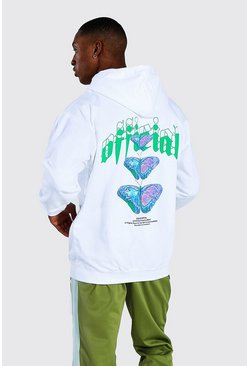 White Oversized Official Butterfly Print Hoodie