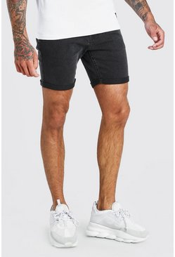 Charcoal Skinny Stretch Jean Shorts