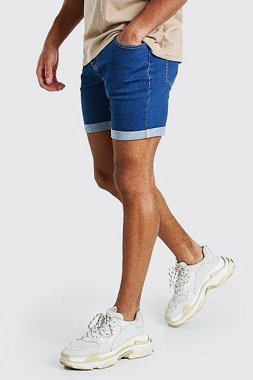 Skinny Stretch Denim Shorts | boohooMAN UK