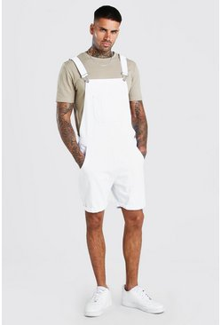 White Short Denim Dungarees
