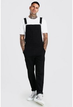 Black Full Length Denim Overalls
