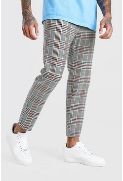 Red Skinny Cropped Smart Check Pants