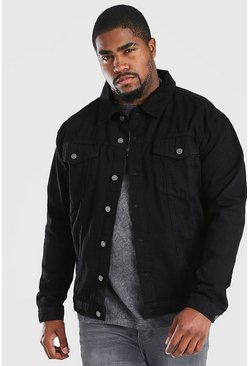 Black Plus Size Regular Denim Western Jacket