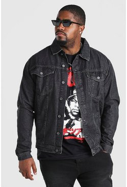 Charcoal Plus Size Regular Denim Western Jacket