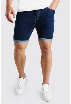 Dark blue Big And Tall Skinny Stretch Jean Shorts