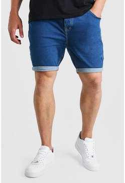Mid blue Big And Tall Skinny Stretch Denim Shorts