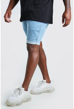 Light blue Big And Tall Skinny Stretch Jean Shorts