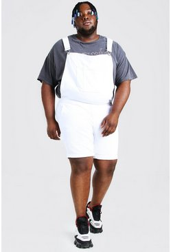 White Plus Size Short Denim Overalls
