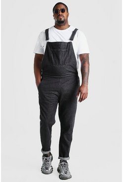 Charcoal Big And Tall Long Denim Overalls