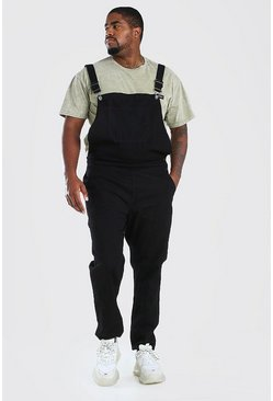 Black Big And Tall Long Denim Overalls