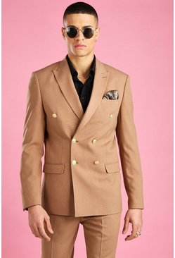 Camel Skinny Fit Double Breasted Suit Jacket