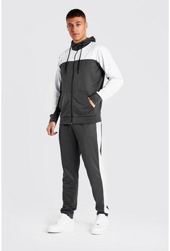 Charcoal Tricot Colour Block Zip Through Tracksuit