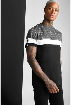 Black MAN Roman Jacquard Panel T-Shirt
