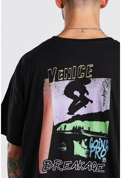 Black Oversized Venice Skate Back Print T-Shirt