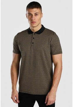Tan Dogtooth Jacquard Polo