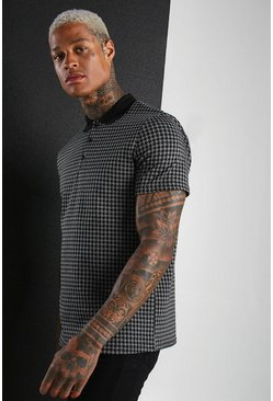 Charcoal Dogtooth Jacquard Polo