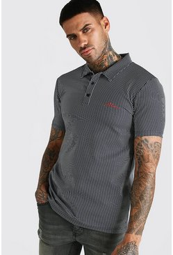 Polo coupe fit à rayures signature MAN, Gris