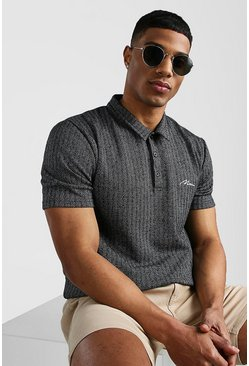 Black MAN Signature Herringbone Jacquard Polo