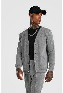 Grey Smart Jacquard Cardigan And Pintuck Jogger Set