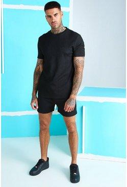 Black MAN Signature Seersucker T-Shirt And Short Set